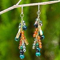 Carnelian and serpentine waterfall earrings, 'Brilliant Cascade'