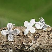 Sterling silver stud earrings, 'Clover for Luck' - Brushed Sterling Silver Stud Earrings with Clover Motif