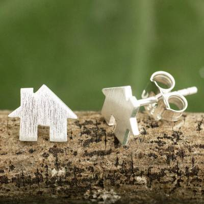 Sterling silver stud earrings, Home Sweet Home