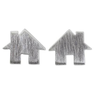 Brushed Silver Earrings in House Shape from Thai Artisan