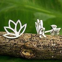 Sterling silver button earrings, 'Sunrise Lotus' - Brushed Sterling Silver Lotus Flower Button Earrings