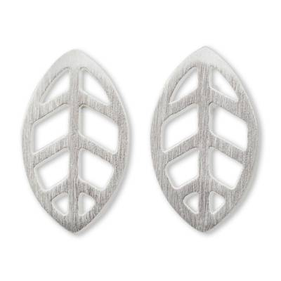Contemporary Brushed Sterling Silver Leaf Stud Earrings