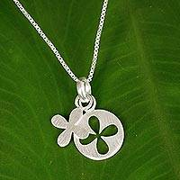 Sterling silver pendant necklace, 'Clover for Luck' - Brushed Sterling Silver Clover Motif Pendant Necklace