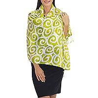 Silk shawl, 'Chartreuse Thai Maze' - Bright Chartreuse and White Spiral Motif Silk Shawl