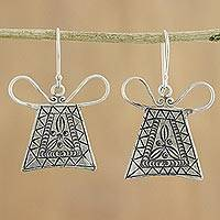 Silver dangle earrings, 'Hmong Lock' - Unique 950 Silver Hmong Hill Tribe Style Earrings