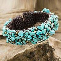 Calcite cuff bracelet, 'Sky Blue Day' - Turquoise Color Bead Bracelet on Brown Crocheted Cords