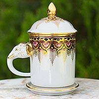 Benjarong porcelain mug, 'Thai Iyara'