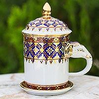 Benjarong porcelain mug, 'Thai Elixir'