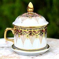 Benjarong porcelain teacup, 'Thai Iyara' - Benjarong White Elephant Teacup and Lid with Gold Paint