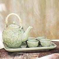 Ceramic tea set, 'Island Delight' (set for 4) - Light Green Celadon Ceramic Tea Set with Tray (Set for 4)