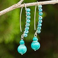 Beaded calcite dangle earrings,