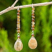 Agate and jasper dangle earrings, 'On the March' - Sterling Silver Dangle Earrings with Agate and Jasper Beads