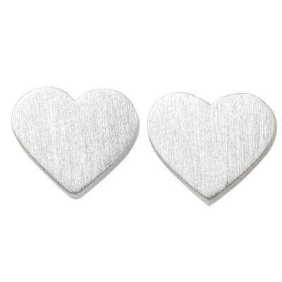 Brushed Sterling Silver 925 Petite Heart Stud Earrings