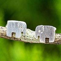 Sterling silver stud earrings, 'Elephant Couple' - Hand Crafted Elephant Stud Earrings in Brushed Silver