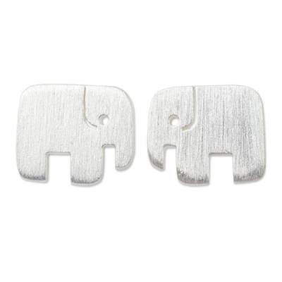 Handcrafted Elephant Stud Earrings in Brushed Silver
