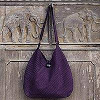 Cotton hobo bag with coin purse, 'Surreal Purple' - Purple Cotton Hobo Style Handbag with Coin Purse