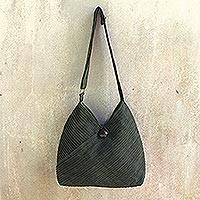Cotton hobo bag with coin purse Surreal Green Thailand