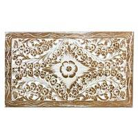 Teakwood relief panel, 'Honey Orchid in White' - Carved Whitewashed Teak Wood Relief Panel with Floral Motif
