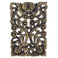 Teakwood relief panel,'Thai Daisy' - Artisan Crafted Teakwood Floral Wall Relief Panel