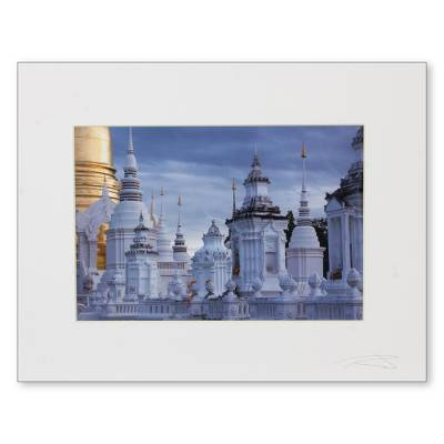 'Suan Dok Temple at Sunset' - Signed Photograph Print of Buddhist Temple in Thailand