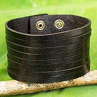 Men's leather wristband bracelet, 'Lanna Destiny' - Black Leather Wristband Bracelet for Men from Thai Artisan