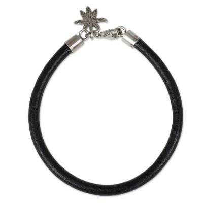 Black Leather Bracelet with 950 Silver Leaf Charm