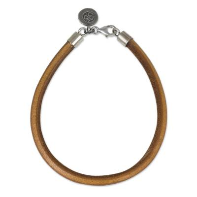 Unisex Tan Leather Bracelet with Om Charm in 950 Silver
