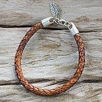 Silver and leather bracelet, 'Natural Charm' - Artisan Crafted Tan Leather and Hill Tribe Silver Bracelet