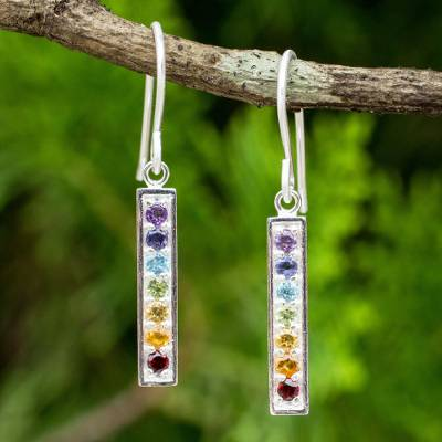 Multigemstone chakra earrings, 'Chakra Honor' - Multi Gemstones on Sterling Silver Bar Chakra Earrings