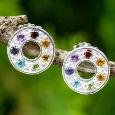 Multigemstone chakra earrings, Chakra Honor Wheel