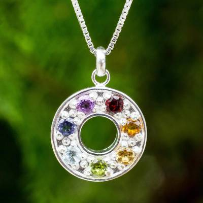 Multigemstone chakra pendant necklace, 'Chakra Honor Wheel' - Artisan Crafted Silver and Gemstone Chakra Pendant Necklace
