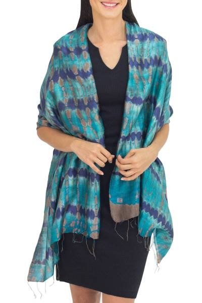 Silk shawl, 'Teal Reflecting Pools' - Thai Artisan Crafted Teal and Blue Tie Dyed Silk Shawl