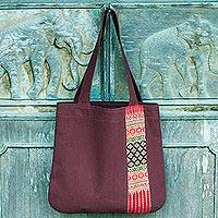 Cotton tote bag, 'Lanna Legacy' - Brown Cotton Tote Bag with Hill Tribe Embroidery