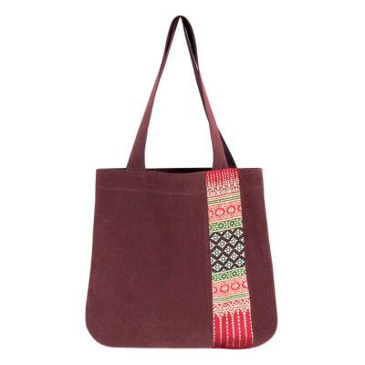 Brown Cotton Tote Bag with Hill Tribe Embroidery