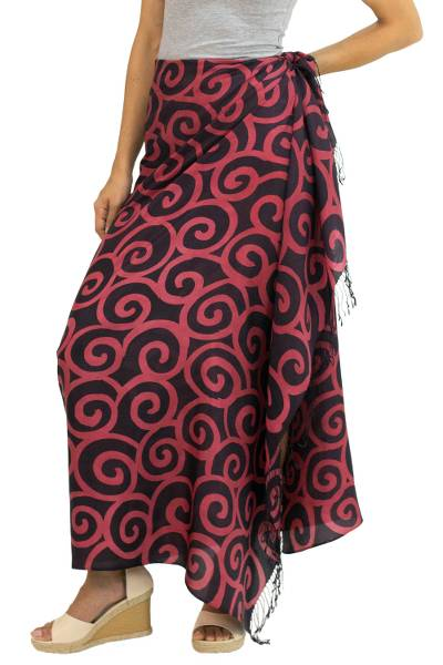 Handcrafted Batik Silk Sarong in Cherry Red and Black