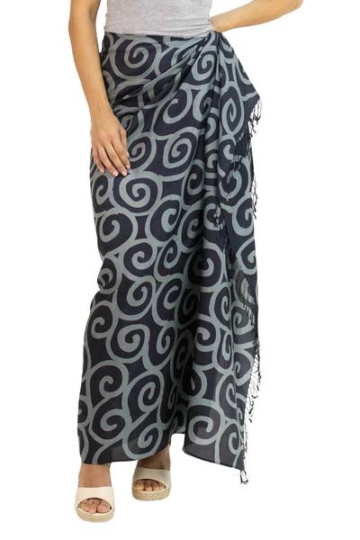 Silk Batik Sarong in Black and Grey from Thailand