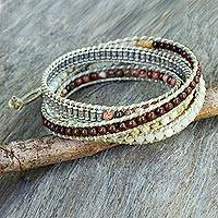 Jasper and quartz wrap bracelet,