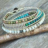 Multi-gemstone wrap bracelet, 'Ocean Commotion' - Multi Gemstone Bead Wrap Bracelet in Blues and Greens