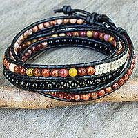 Multi-gemstone wrap bracelet,