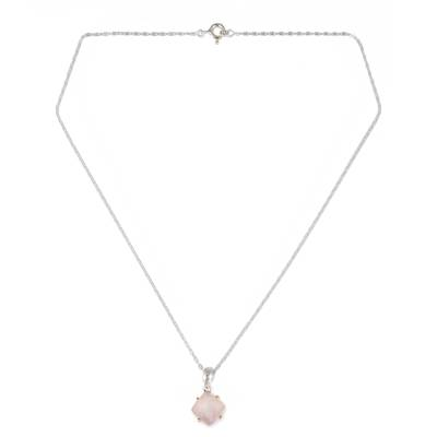 Faceted Pink Chalcedony Pendant Necklace from Thai Artisan