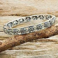 Marcasite bangle bracelet, 'Elephants of Siam' - Glistening Marcasite Elephants on 925 Silver Bracelet