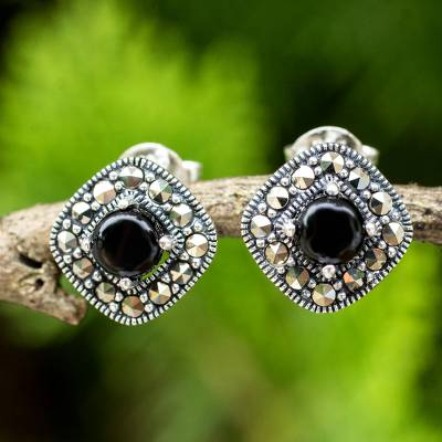 Onyx and marcasite button earrings, 'Vintage Belle' - Vintage Style Onyx and Marcasite 925 Silver Button Earrings