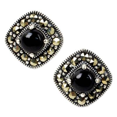 Vintage Style Onyx and Marcasite 925 Silver Button Earrings
