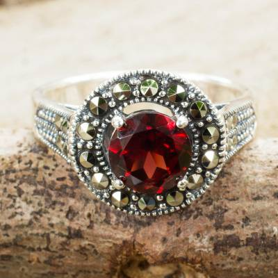 Garnet single stone ring, 'Contemporary Belle' - Garnet and Marcasite Sterling Silver Ring Artisan Jewelry