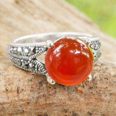 Carnelian single stone ring, 'Marigold' - Carnelian and Marcasite on Thai Style Sterling Silver Ring
