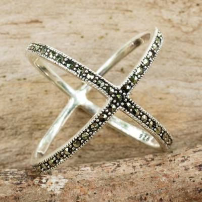 Marcasite band ring, 'Siam Atom' - Original Thai Ring Hand Crafted with Silver and Marcasite