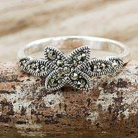 Marcasite flower ring, 'Lanna Wildflower' - Marcasite Flower on Sterling Silver Ring Crafted in Thailand