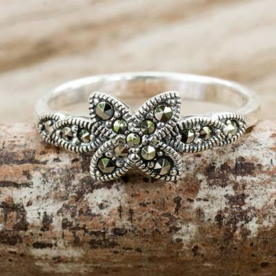 Marcasite Flower on Sterling Silver Ring Crafted in Thailand