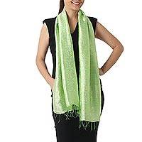 Scarf, 'Green Bouquet' - Spring Green Rayon and Silk Blend Floral Jacquard Shawl