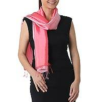 Rayon and silk blend scarf, 'Shimmering Tulip' - 2-tone Pink Salmon Scarf in Shimmering Rayon and Silk Blend